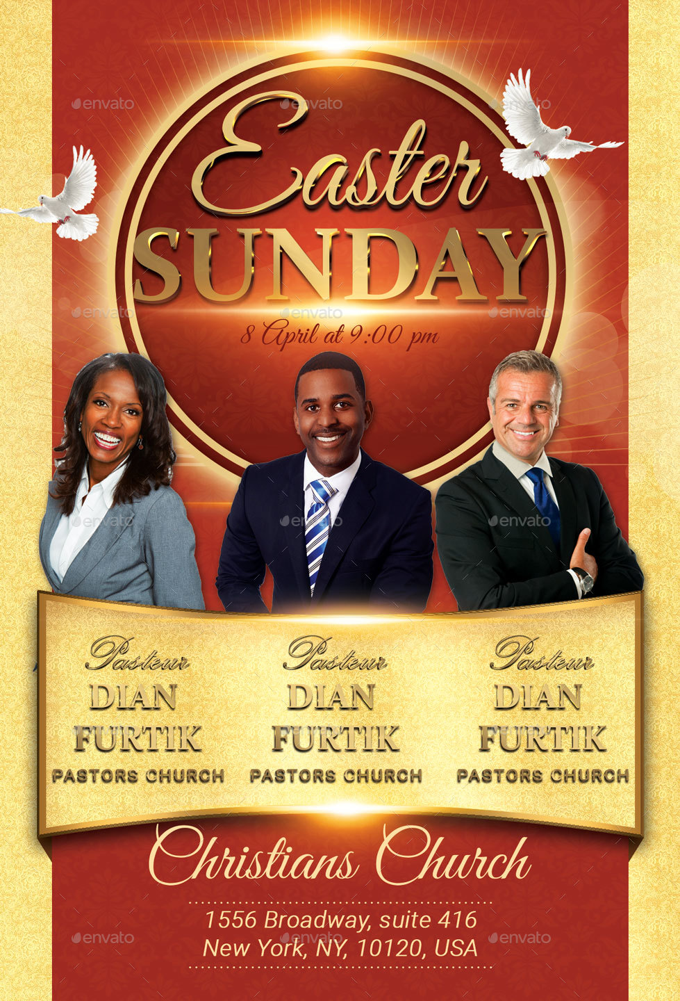 easter sunday church flyer 100 fully layered psd