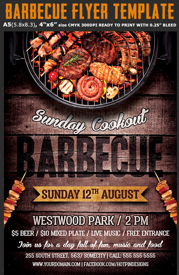 Free Psd Barbeque Flyer Templates For The Best Events  Free Psd