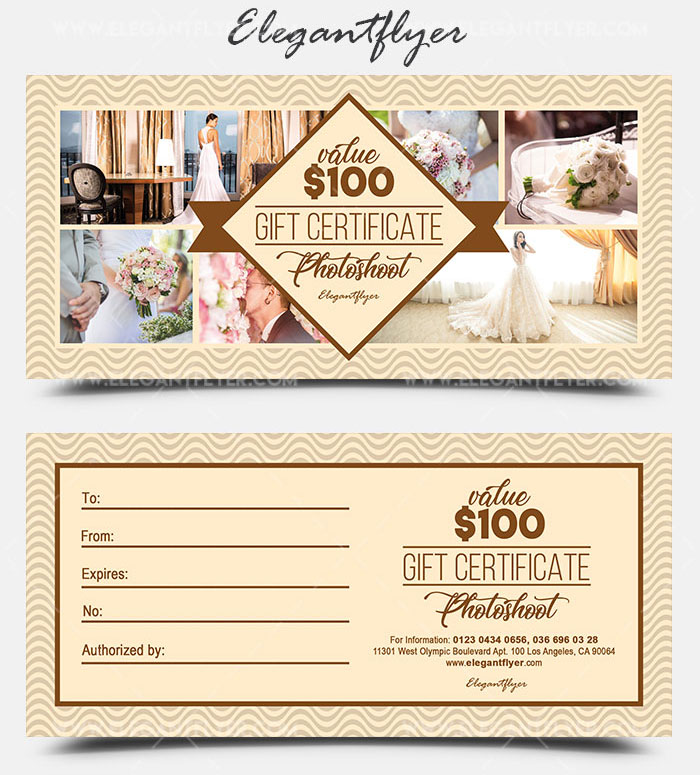Gift certificate as a mandatory business attribute 20 for Photoshoot gift certificate template