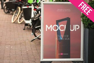 Free Outdoor Poster Sign Mock-up in PSD