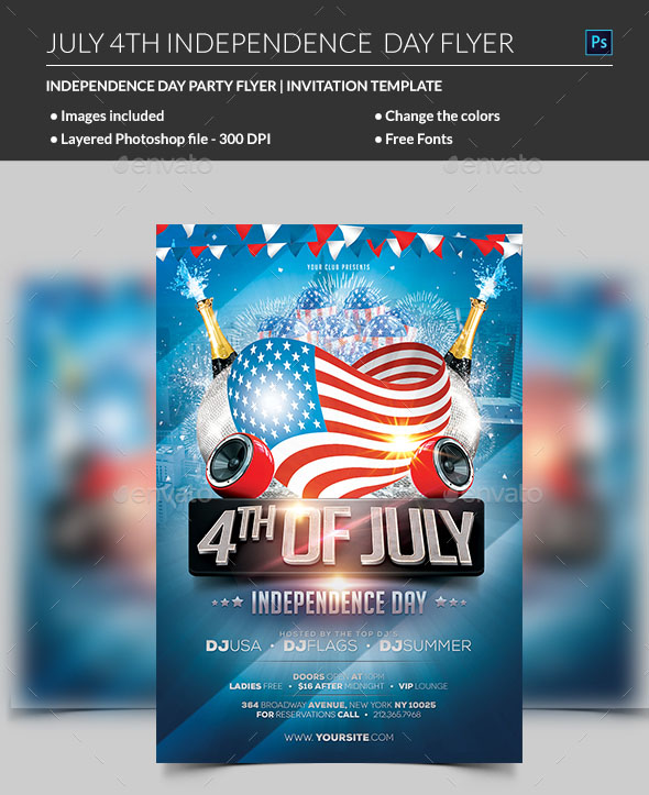 American Flag Flyer Template from free-psd-templates.com