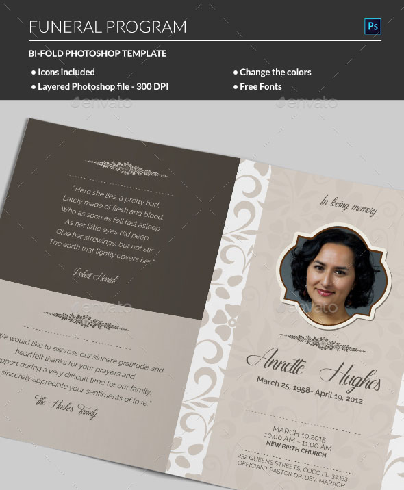 20 modern and professional free psd funeral program templates the design is simple yet beautiful with brown gold and tan hues that illuminate the images if you are looking for a refined and elegant template solutioingenieria Image collections