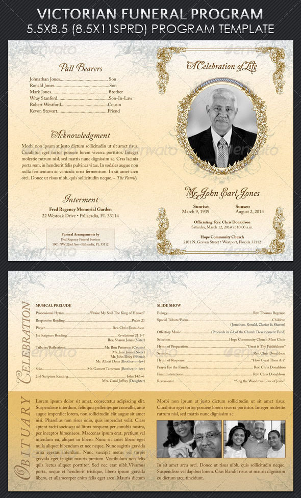 Modern And Professional Free Psd Funeral Program Templates