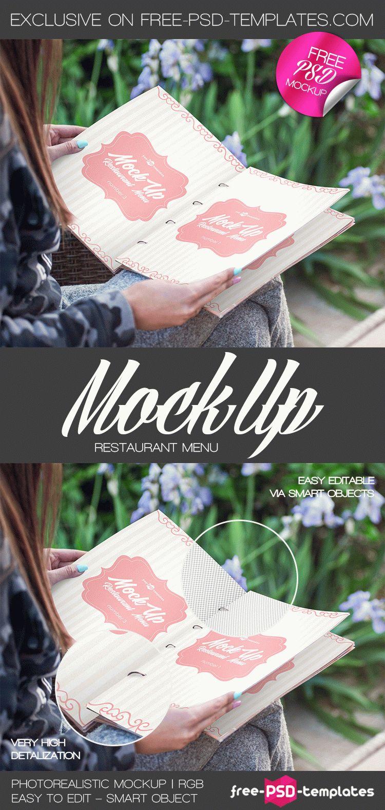 Free Restaurant Menu Mockup In PSD Free PSD Templates - Menu mockup template