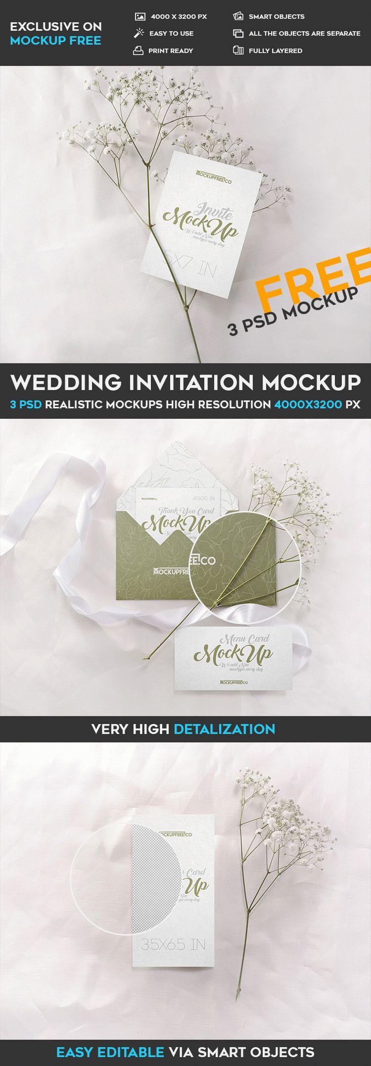 Wedding invitation 3 free psd mockups free psd templates it was created exclusively for our website the mock up is fully layered and well organized you are free to download this psd mockup template and modify it stopboris Choice Image
