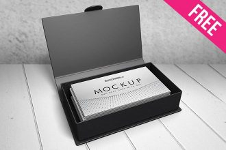 Business Card with Box – 2 Free PSD Mockups