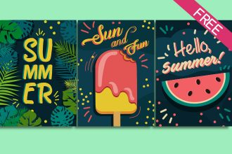 Free Set Of Bright Summer Cards