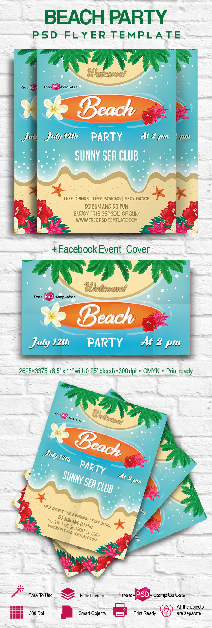 free beach party flyer in psd free psd templates