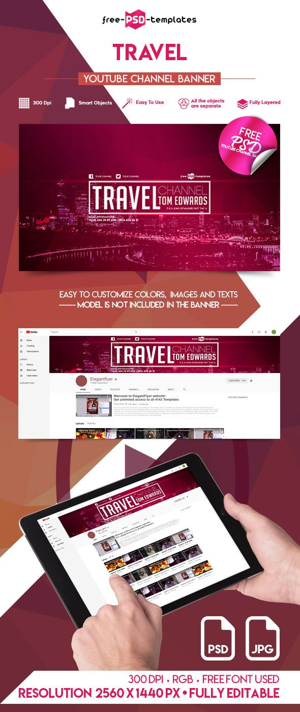 Free Travel YouTube Channel Banner | Free PSD Templates