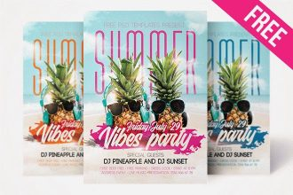 Free Summer Vibes Party Flyer in PSD