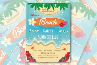 Free Beach Party Flyer in PSD