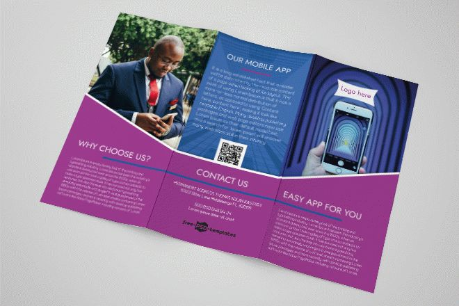 free mobile app tri fold brochure in psd free psd templates