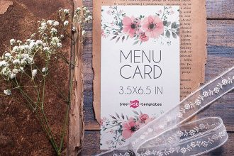 Free Wedding menu Card Mockup (PSD)