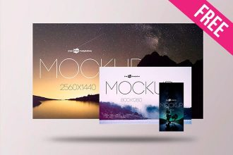 Free Screens Presentation Mockup (PSD)
