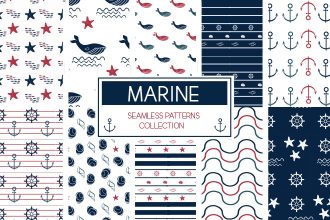 Free Marine Seamless Pattern Vector Collection