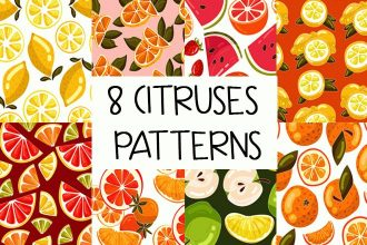 Free Citruses Patterns Set Vector