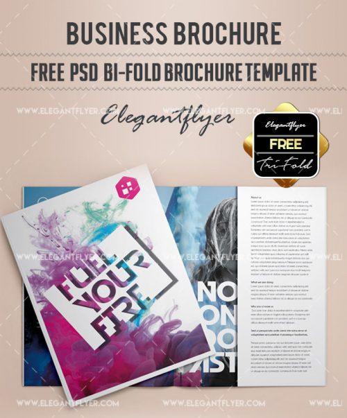 business free bi fold brochure psd template