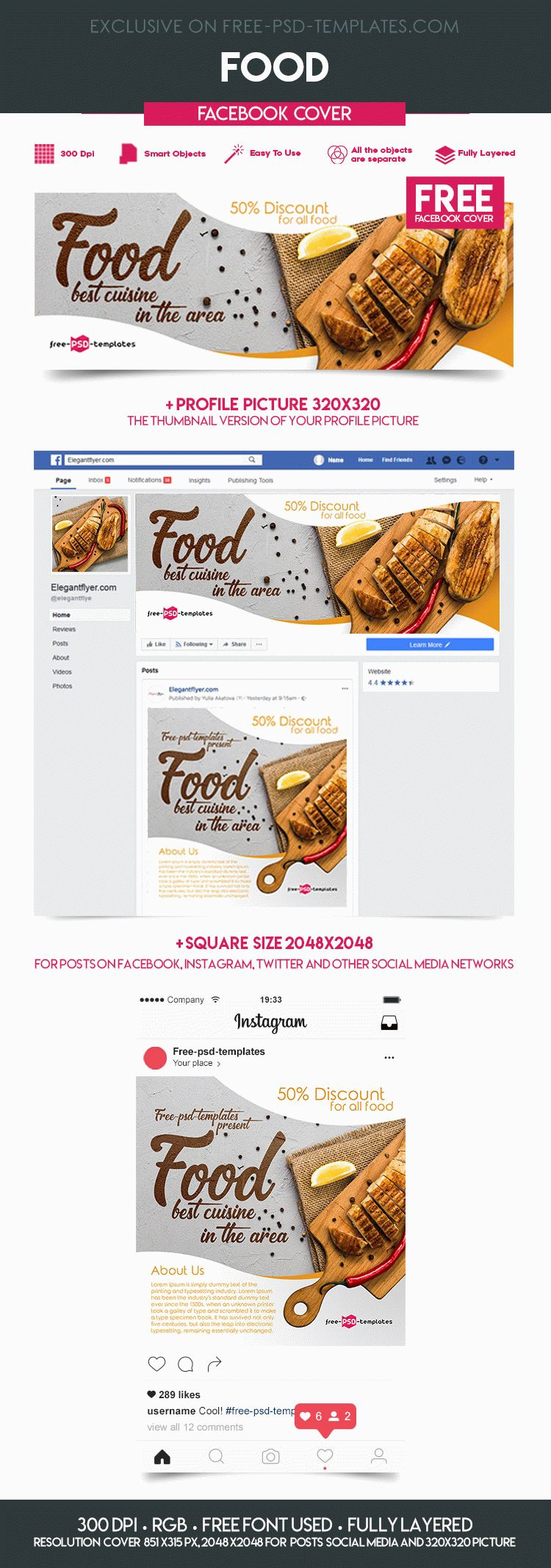 free food facebook cover free psd templates