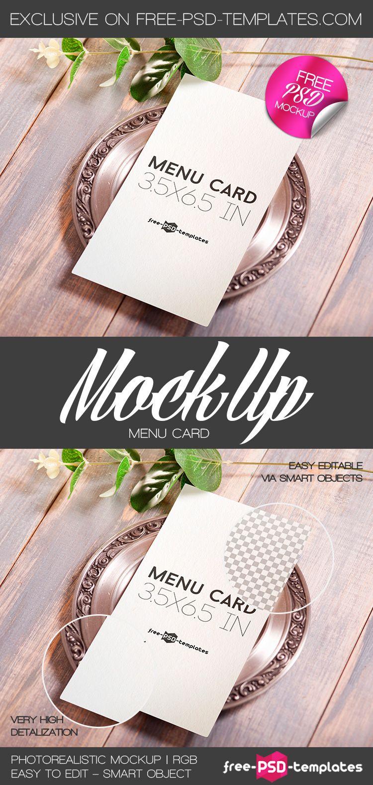 Free Menu Card Mock Up In Psd Free Psd Templates