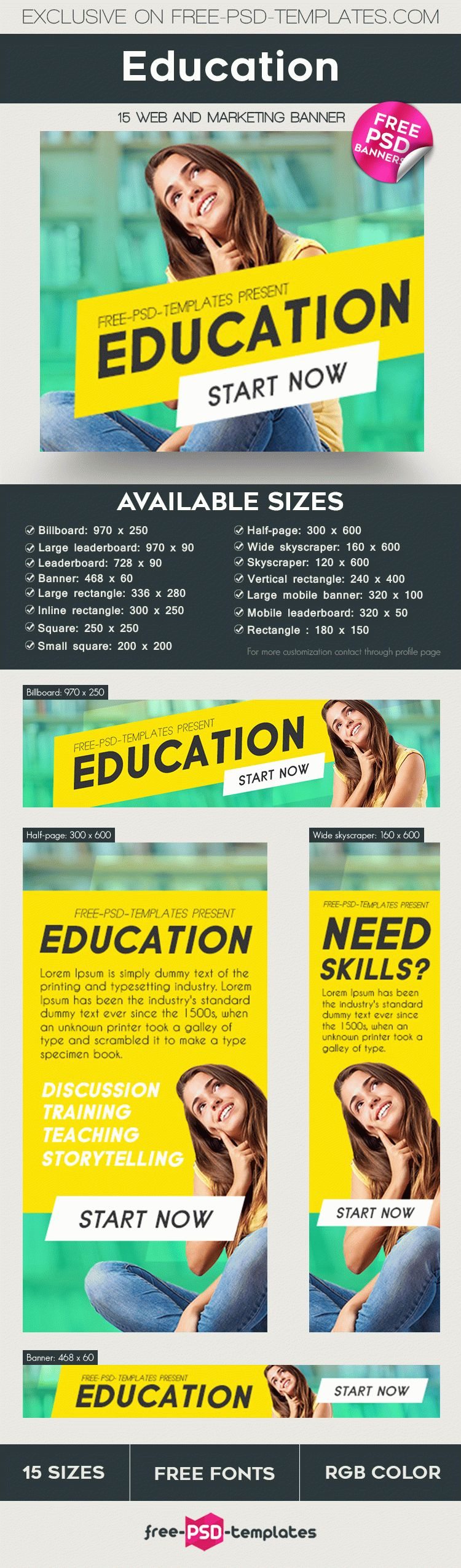 15 Free Education Banners Collection in PSD | Free PSD Templates