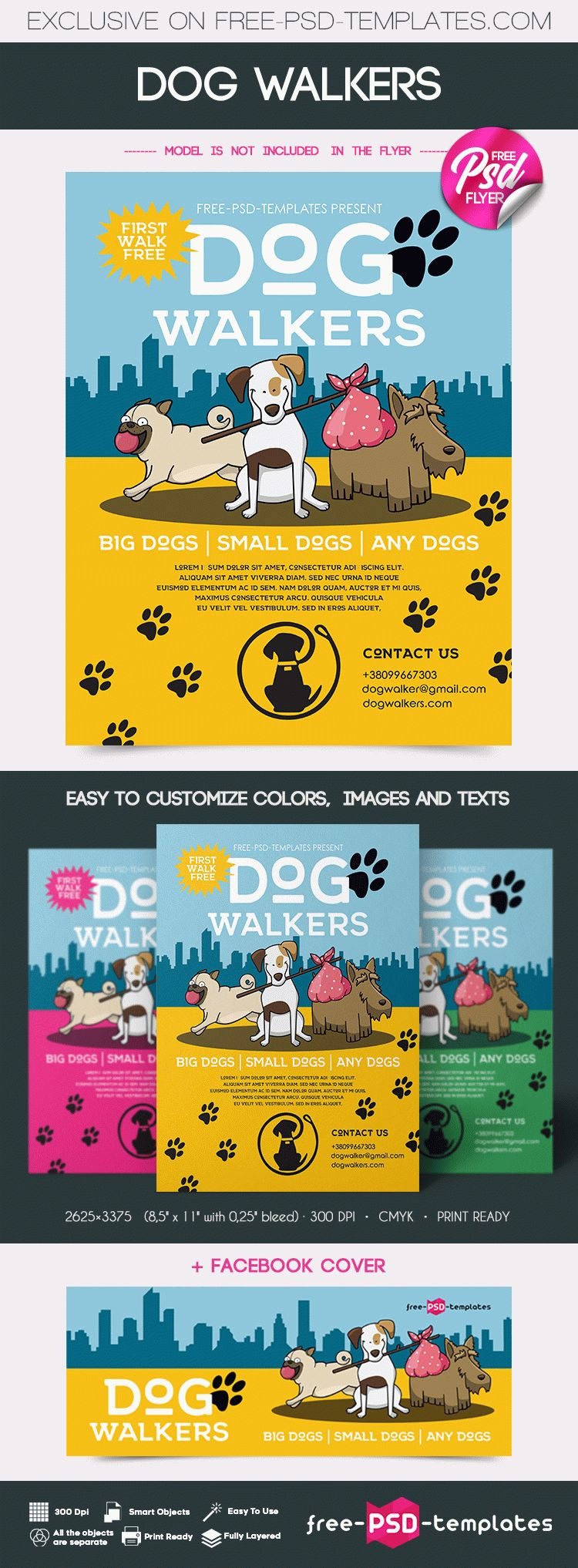 Free Dog Walkers Flyer in PSD | Free PSD Templates