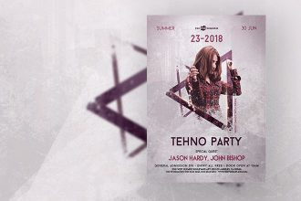Free Techno Party Flyer in PSD