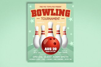 Free Bowling Tournament Flyer in PSD