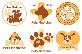 Free Vector Vet Medicine Logo Set