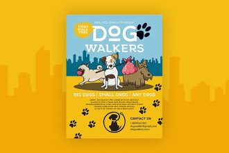 Free Dog Walkers Flyer in PSD