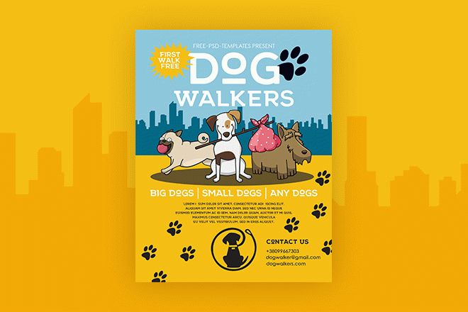 Dog Walking Flyer Template Free from free-psd-templates.com