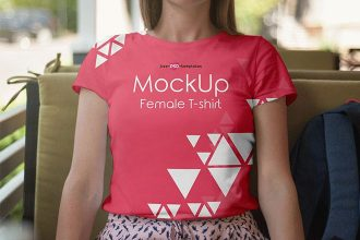 Free Female T-shirt Mock-up in PSD