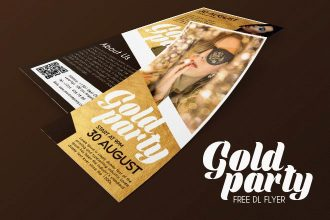 Free Gold Party DL Flyer in PSD
