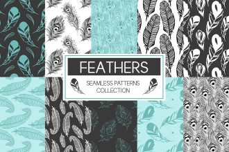Free Vector Feathers Seamless Patterns