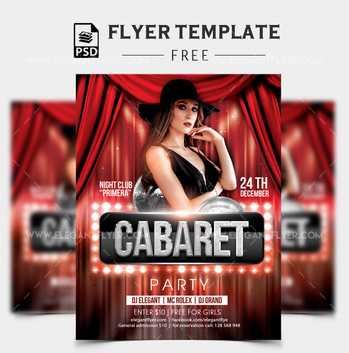 cabaret party free party flyer template in psd