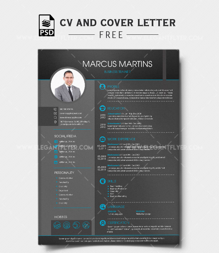 60premium Free Psd Cv Resume Templates Cover Letters