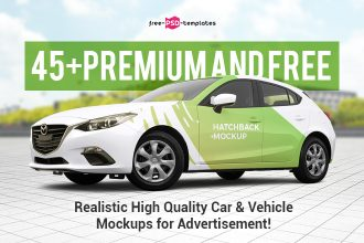 45+Premium and Free PSD Realistic High Quality Car & Vehicle Mockups for advertisement!