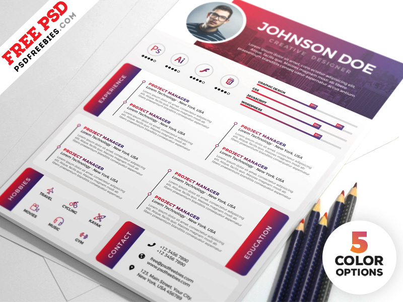 Designer Resume Templates Free PSD Download