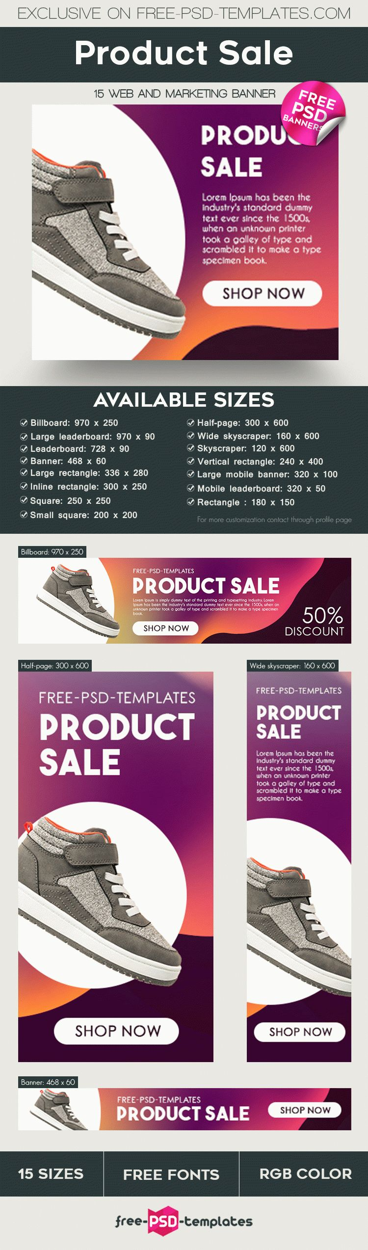 15 free product sale banners collection in psd free psd templates