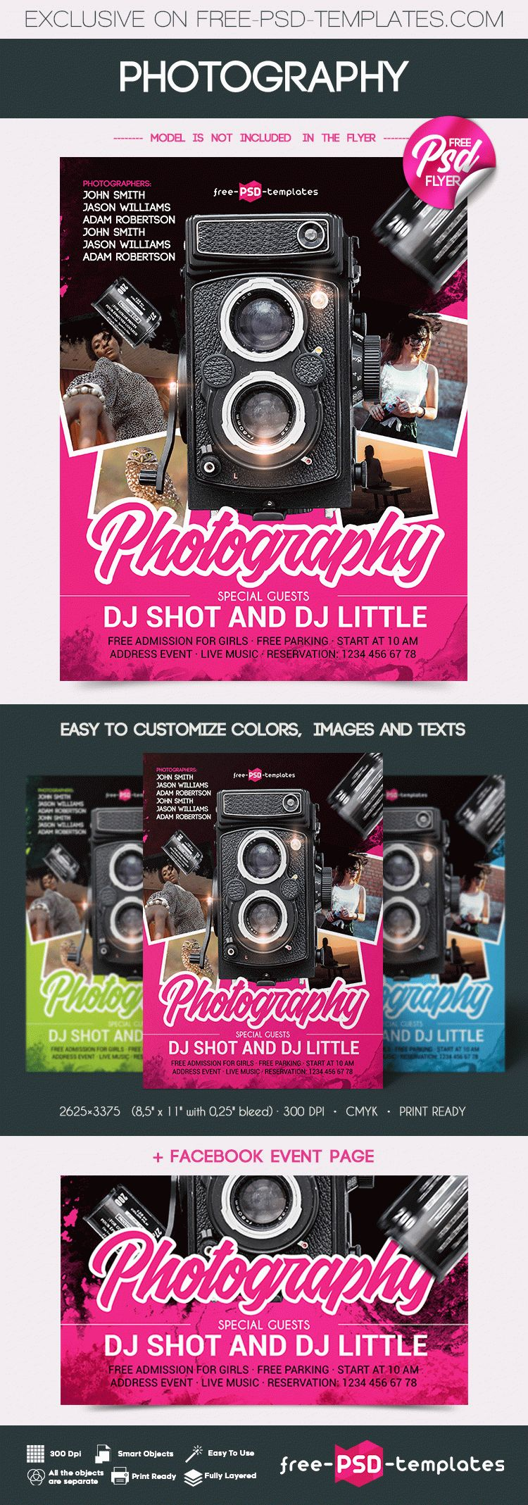 Free photography flyer in psd free psd templates the template is fully layered and well organized you are free to download this psd template and modify it the way you wish maxwellsz