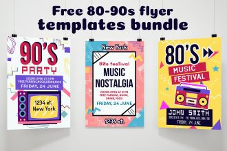 Free 80-90s Flyer Templates Bundle