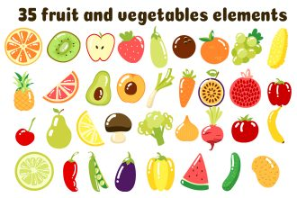 Free Vector Fruit And Vegetables Elements
