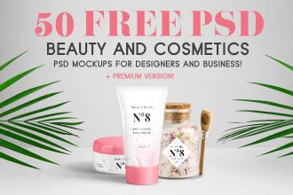 50 Free PSD Beauty & Cosmetics PSD Mockups for designers and business + Premium version!