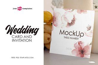 Free Wedding Invitation and Card Mockups Set