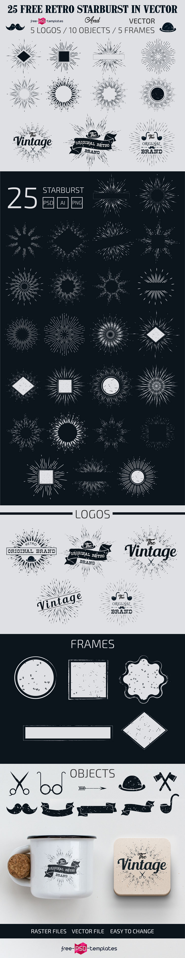 free retro starburst in vector free psd templates