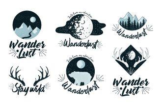 Free Wanderlust Vector Logo Set