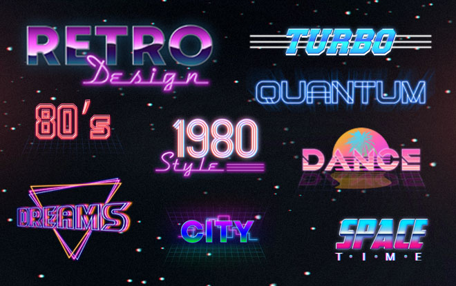 10 Free 80s Text Effects | Free PSD Templates