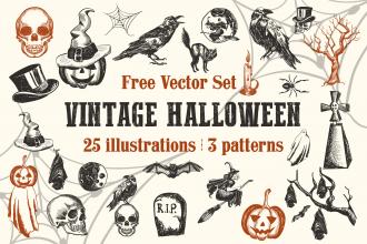 Free Vector Vintage Halloween Set