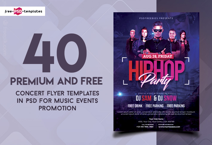 40 premium and free concert flyer psd templates for music events
