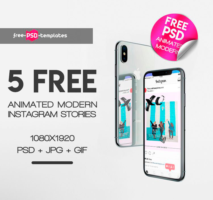5 Free ANIMATED Modern Instagram Stories in PSD | Free PSD