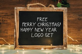 Free Merry Christmas & Happy New Year Logo Set